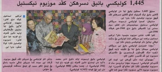 Utusan Melayu_24-sep-2012_ms5_1445 Koleksi batik diserahkan kepada Muzium Tekstil