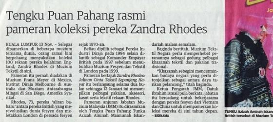 Utusan Malaysia_14-Nov-2013_ms12_Tengku Puan Pahang rasmi pameran koleksi pereka Zandra Rhodes